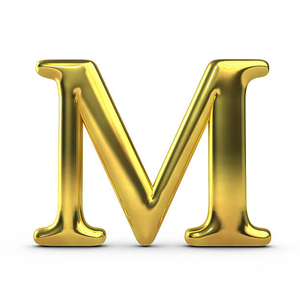 Shiny gold capital letter M
